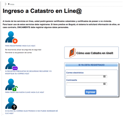 certificado Catastral en línea en Colombia