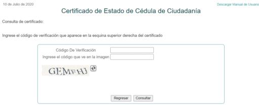 certificado cedula de ciudadanía Colombia