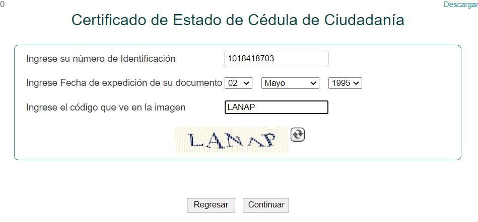 certificado cedula de ciudadanía