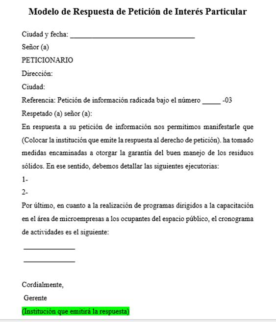 Respuesta derecho de petición interés particular