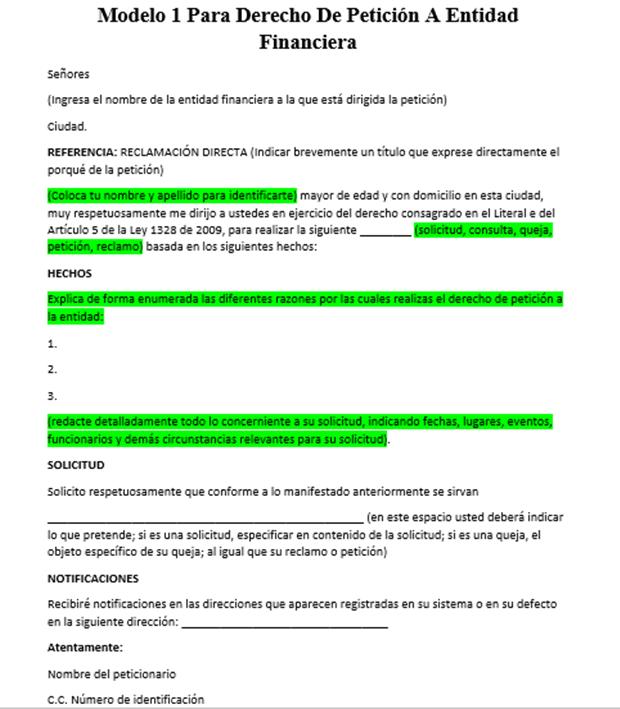 Modelo 1 para derecho de petición a entidad financiera