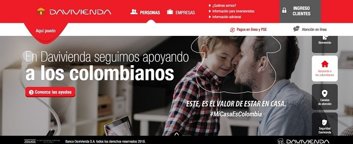 sitio web de Davivienda